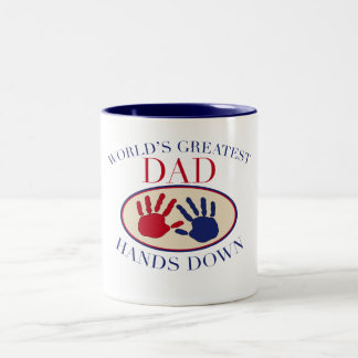 World's Greatest Dad Hands Down Two-Tone Coffee Mug