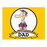 WORLDS GREATEST DAD III MEN CARTOON POSTCARD