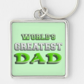 World's Greatest Dad Silver-Colored Square Keychain
