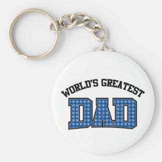 Worlds Greatest Dad Keychain Plaid