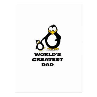 worlds greatest dad penguin postcard