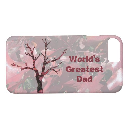 World's Greatest Dad Red Oak Leaves and Tree iPhone 8/7 Case