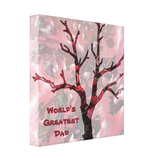 World's Greatest Dad Red Oak Leaves, Tree Canvas Print