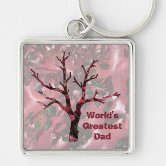 World's Greatest Dad Red Oak Leaves, Tree Keychain