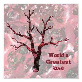 World's Greatest Dad Red Oak Leaves, Tree Photo Print