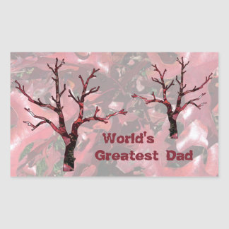 World's Greatest Dad Red Oak Leaves, Tree Rectangular Sticker