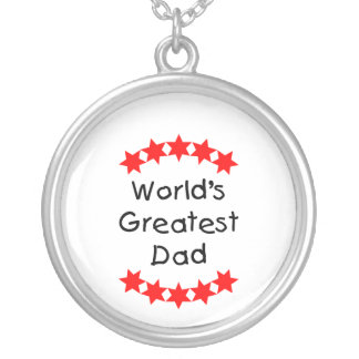World's Greatest Dad (red stars) Round Pendant Necklace
