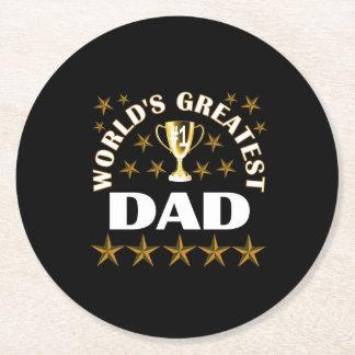 worlds-greatest-dad round paper coaster