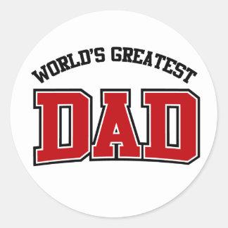Worlds Greatest Dad Stickers Red
