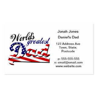 World's greatest dad with American flag Business Card