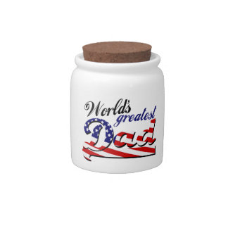 World's greatest dad with American flag Candy Dishes