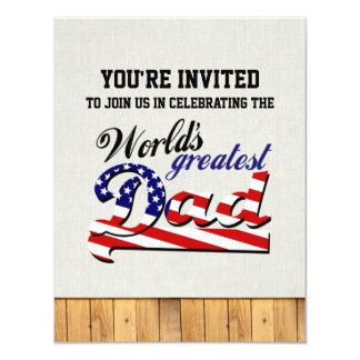 World's greatest dad with American flag Card