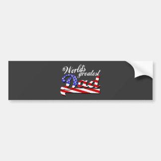 Worlds greatest dad with American flag - Dark Bumper Stickers