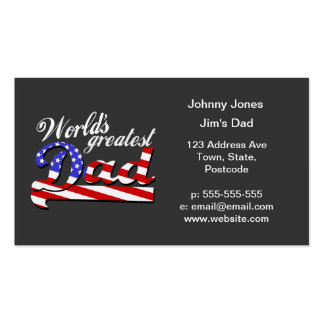 Worlds greatest dad with American flag - Dark Business Card