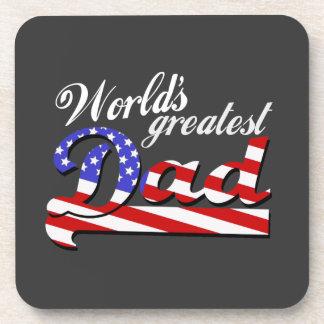 Worlds greatest dad with American flag - Dark Drink Coaster