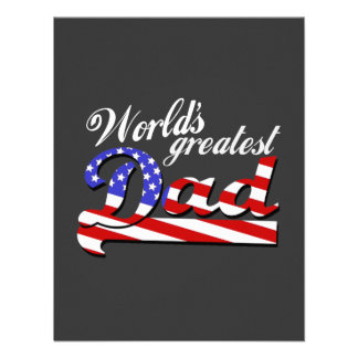 Worlds greatest dad with American flag - Dark Personalized Invitation
