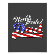 Worlds greatest dad with American flag - Dark Invitation