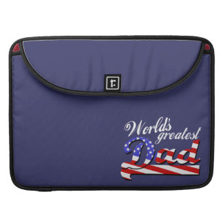 Worlds greatest dad with American flag - Dark MacBook Pro Sleeve