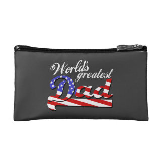 Worlds greatest dad with American flag - Dark Makeup Bag
