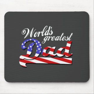Worlds greatest dad with American flag - Dark Mouse Pad