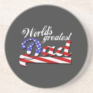 Worlds greatest dad with American flag - Dark Sandstone Coaster