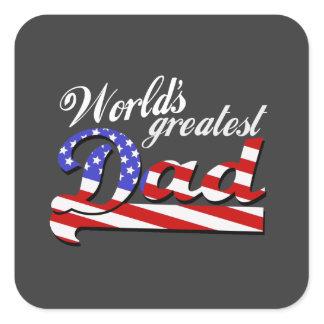 Worlds greatest dad with American flag - Dark Square Sticker