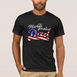 Worlds greatest dad with American flag - Dark T-Shirt