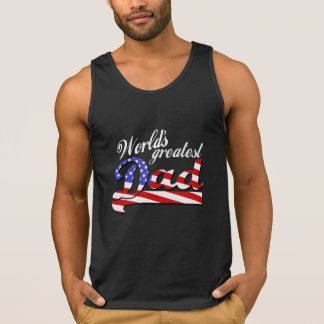Worlds greatest dad with American flag - Dark Tank Top