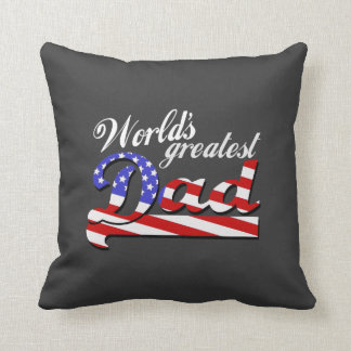 Worlds greatest dad with American flag - Dark Throw Pillow