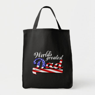 Worlds greatest dad with American flag - Dark Tote Bag