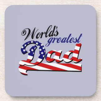 World's greatest dad with American flag Drink Coaster