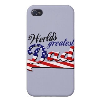 World's greatest dad with American flag iPhone 4/4S Case