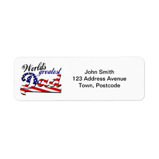 World's greatest dad with American flag Label
