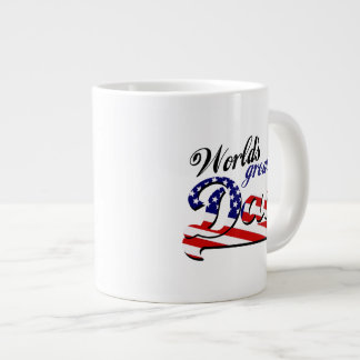 World's greatest dad with American flag Large Coffee Mug