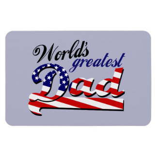 World's greatest dad with American flag Magnet