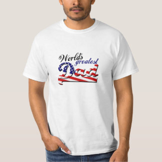 World's greatest dad with American flag T-Shirt