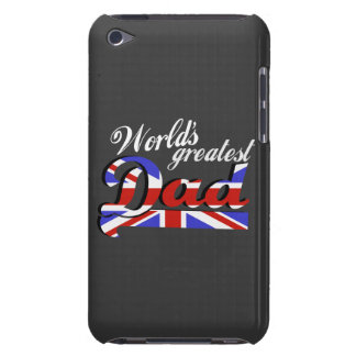 World's greatest dad with British flag - dark Barely There iPod Cases