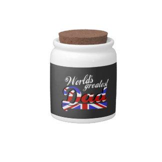 World's greatest dad with British flag - dark Candy Jar