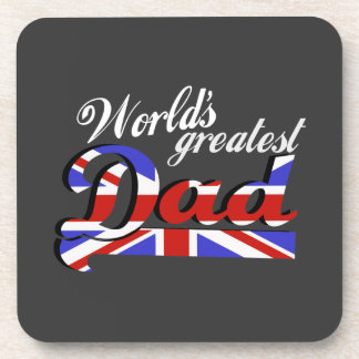 World's greatest dad with British flag - dark Coaster