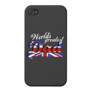 World's greatest dad with British flag - dark iPhone 4 Covers