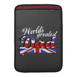 World's greatest dad with British flag - dark Sleeve For MacBook Air