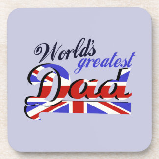 World's Greatest Dad with English flag Beverage Coaster