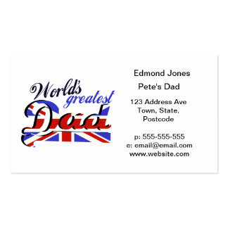 World's Greatest Dad with English flag Business Card