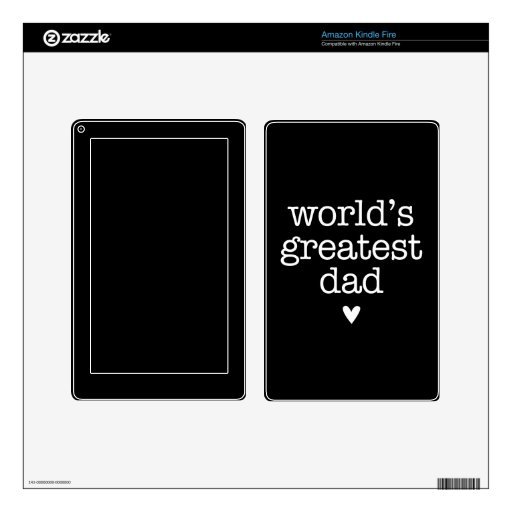 World's Greatest Dad with Heart Father's Day Decals For Kindle Fire