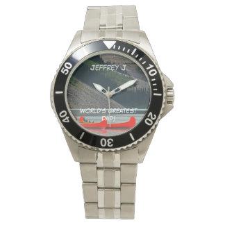 World's Greatest Dad! Wrist Watch, Canoes, Mtns Wrist Watch