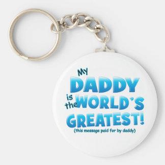 Worlds Greatest Daddy blue Basic Round Button Keychain