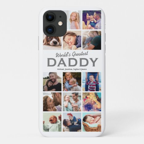 Worlds Greatest Daddy Photo Collage iPhone 11 Case