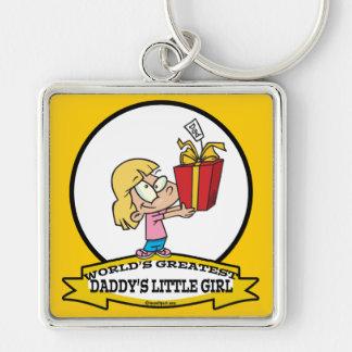 WORLDS GREATEST DADDYS LITTLE GIRL CARTOON KEYCHAINS