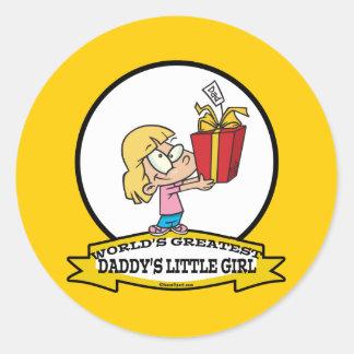 WORLDS GREATEST DADDYS LITTLE GIRL CARTOON ROUND STICKERS