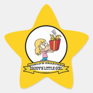 WORLDS GREATEST DADDYS LITTLE GIRL CARTOON STAR STICKER